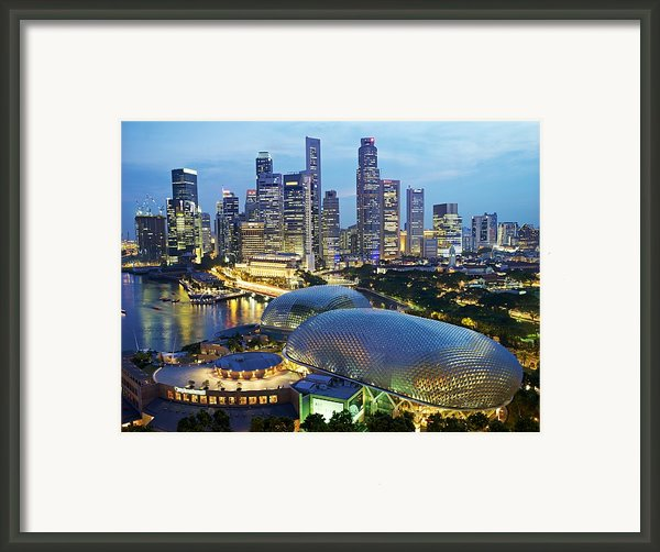 Night View Of The Esplanade And Central Framed Print By Justin Guariglia