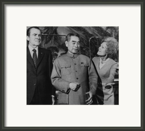 Nixon Presidency.  From Left  Us Framed Print By Everett