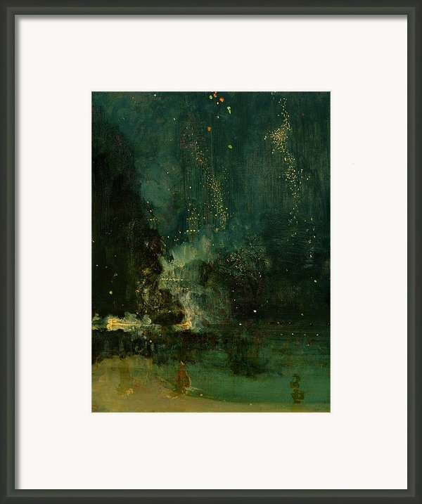 Nocturne In Black And Gold - The Falling Rocket Framed Print By James Abbott Mcneill Whistler