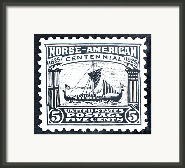 Norse-american Centennial Stamp Framed Print By James Neill