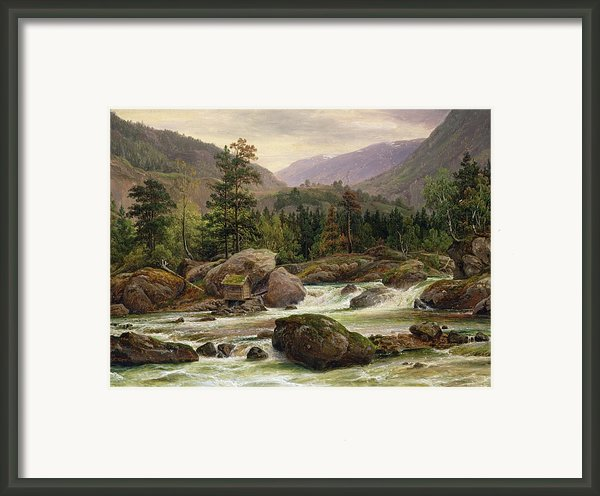 Norwegian Waterfall Framed Print By Thomas Fearnley