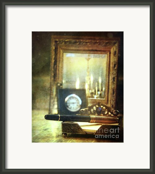 Nostalgic Still Life Of Writing Pen With Clock In Background Framed Print By Sandra Cunningham