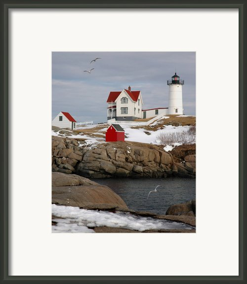 Nubble Light - Cape Neddick Lighthouse Seascape Landscape Rocky Coast Maine Framed Print By Jon Holiday