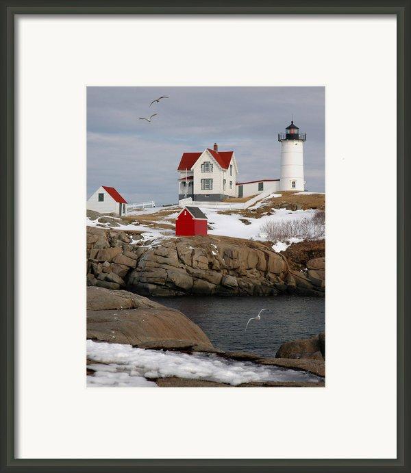 Nubble Light - Cape Neddick Lighthouse Seascape Landscape Rocky Coast Maine Framed Print By Jon Holiday