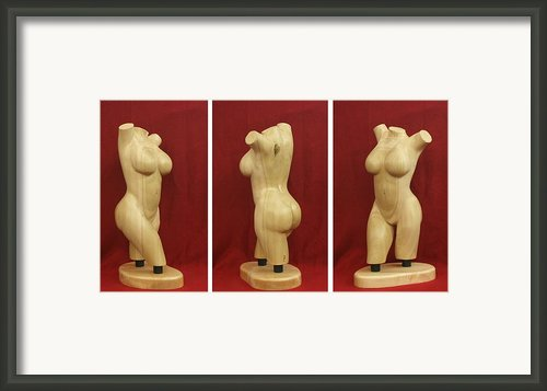 Nude Female Wood Torso Sculpture Roberta    Framed Print By Mike Burton