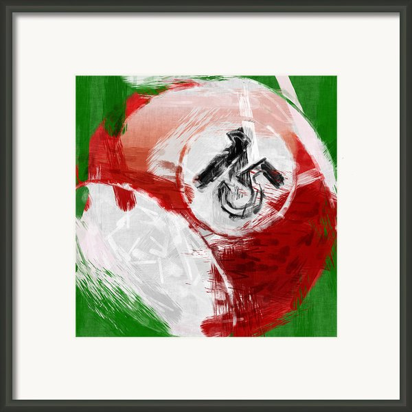 Number Fifteen Billiards Ball Abstract Framed Print By David G Paul