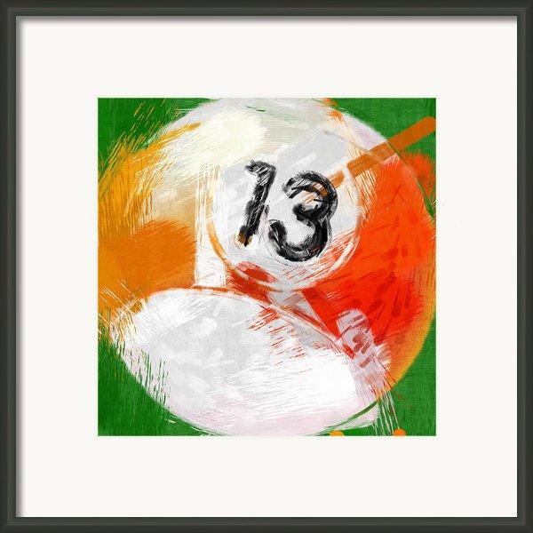 Number Thirteen Billiards Ball Abstract Framed Print By David G Paul