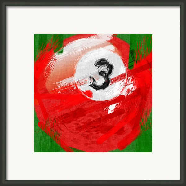 Number Three Billiards Ball Abstract Framed Print By David G Paul
