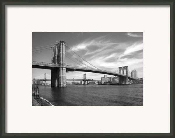Nyc Brooklyn Bridge Framed Print By Mike Mcglothlen