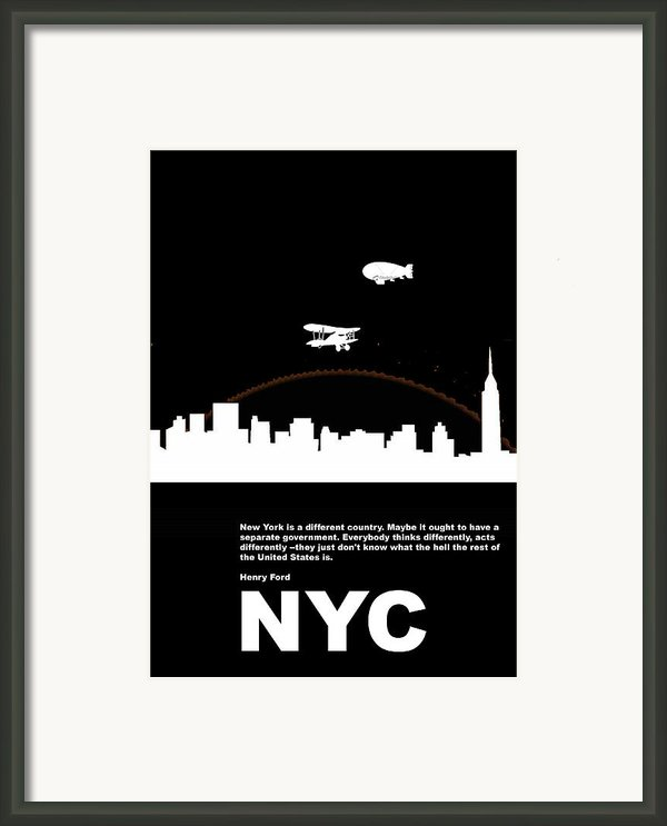 Nyc Night Poster Framed Print By Naxart Studio