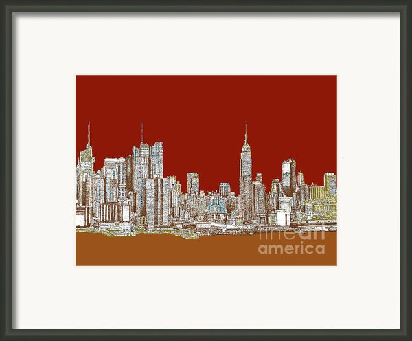 Nyc Red Sepia  Framed Print By Lee-ann Adendorff