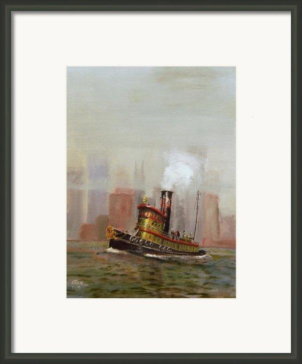 Nyc Tug Framed Print By Christopher Jenkins