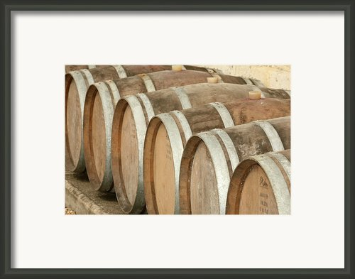 Oak Wine Barrels In Castillion La Bataille, France Framed Print By Steven Morris Photography