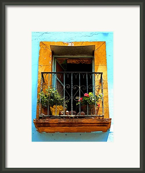 Ochre Window In Turqoise Framed Print By Olden Mexico
