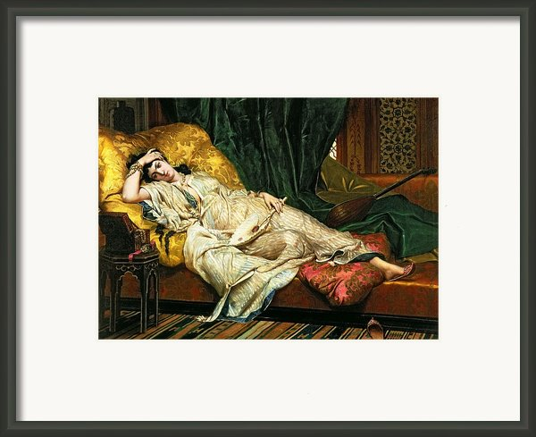 Odalisque With A Lute Framed Print By Hippolyte Berteaux