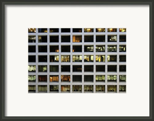 Office Building At Night Framed Print By Lars Ruecker