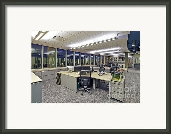 Office Work Stations Framed Print By Francis Zera