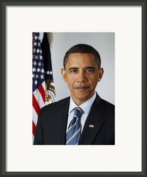 Official Portrait Of President Barack Framed Print By Everett