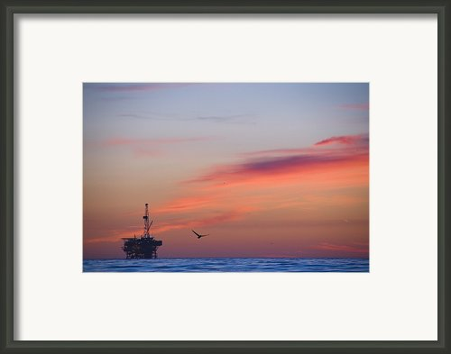 Offshore Oil And Gas Rig In The Pacific Framed Print By James Forte
