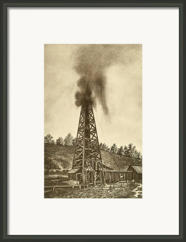 Oil Well With A Gusher In The Oil Framed Print By Everett