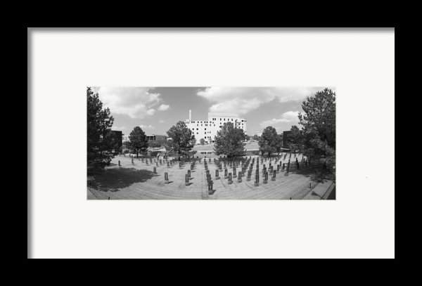 Oklahoma City National Memorial Black And White Framed Print By Ricky Barnard