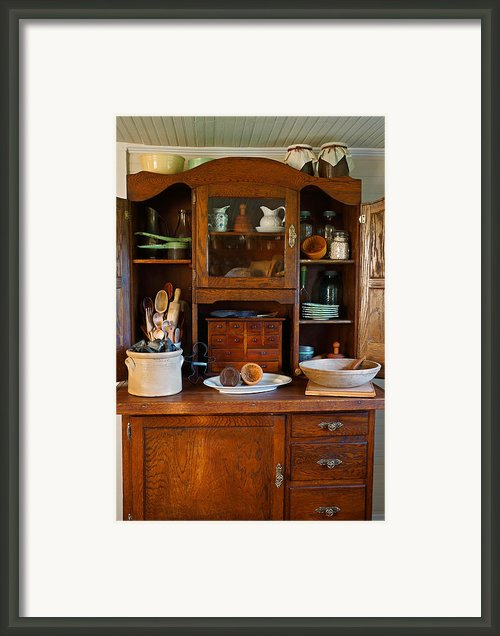 Old Bakers Cabinet Framed Print By Carmen Del Valle