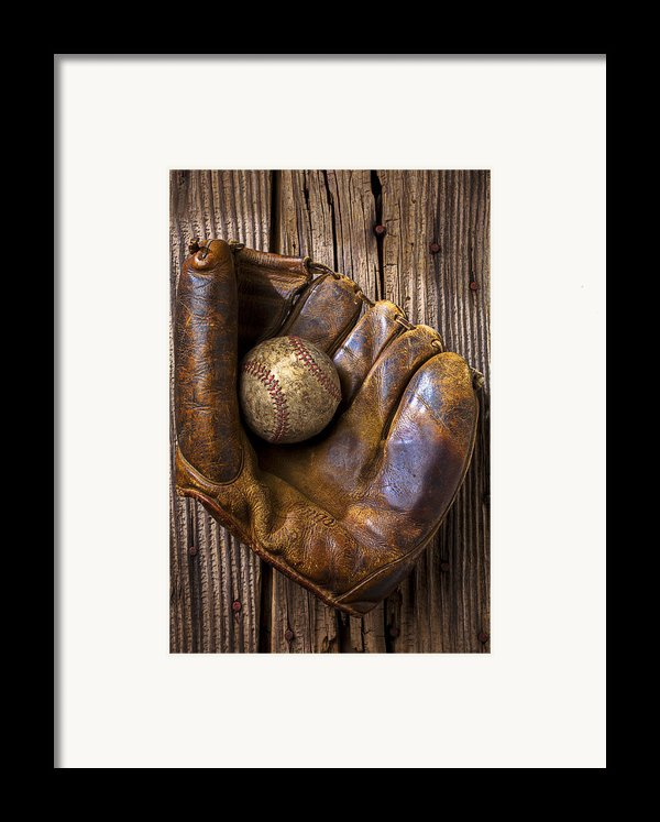 Old Baseball Mitt And Ball Framed Print By Garry Gay