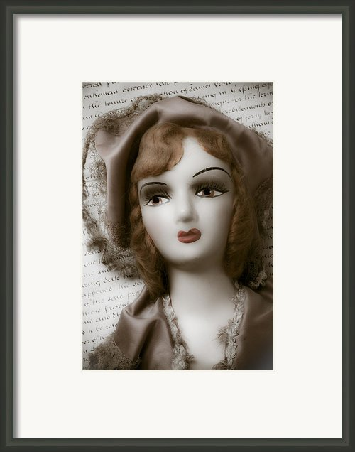 Old Doll On Old Letter Framed Print By Garry Gay