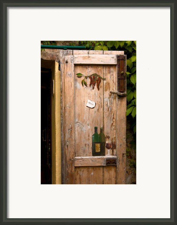 Old Door And Wine Framed Print By Sally Weigand