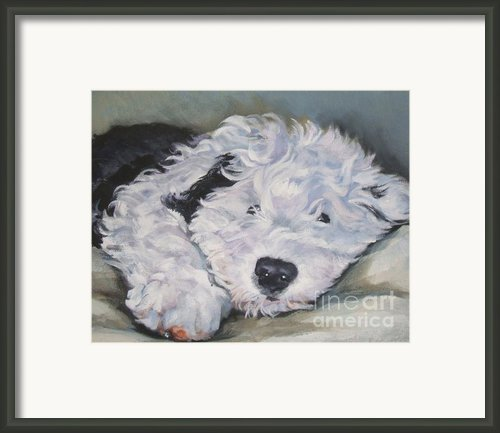 Old English Sheepdog Pup Framed Print By Lee Ann Shepard