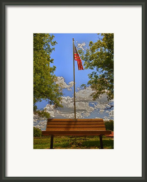 Old Glory Bench Framed Print By Bill Tiepelman