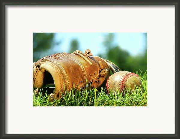 Old Glove And Baseball  Framed Print By Sandra Cunningham