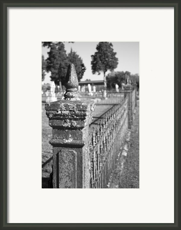 Old Graveyard Fence In Black And White Framed Print By Kathy Clark
