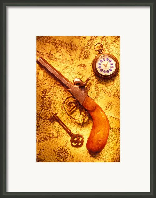 Old Gun On Old Map Framed Print By Garry Gay