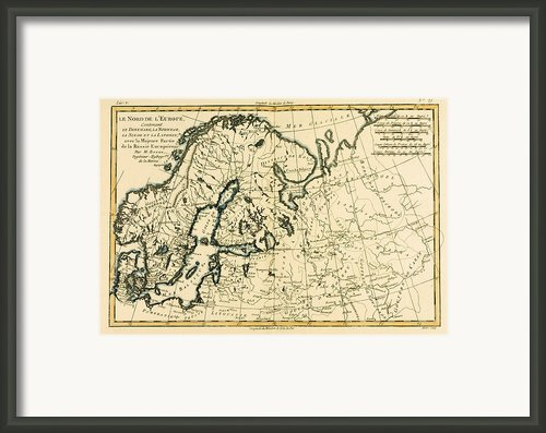Old Map Of Northern Europe Framed Print By Guillaume Raynal