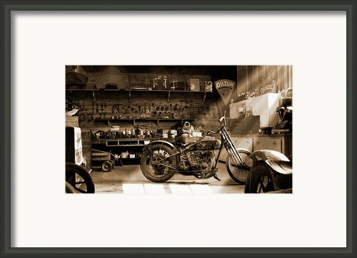 Old Motorcycle Shop Framed Print By Mike Mcglothlen