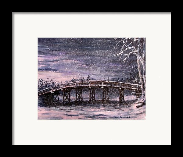 Old North Bridge In Winter Framed Print By Jack Skinner