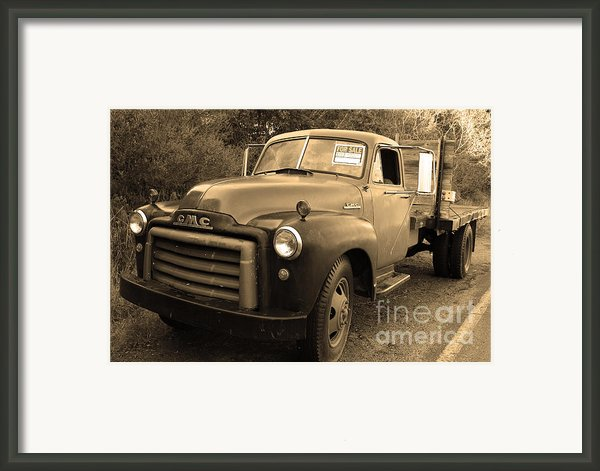 Old Nostalgic American Gmc Flatbed Truck . 7d9821 . Sepia Framed Print By Wingsdomain Art And Photography