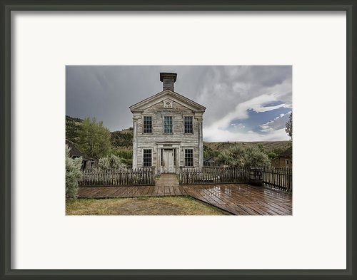 Old School House After Storm - Bannack Montana Framed Print By Daniel Hagerman