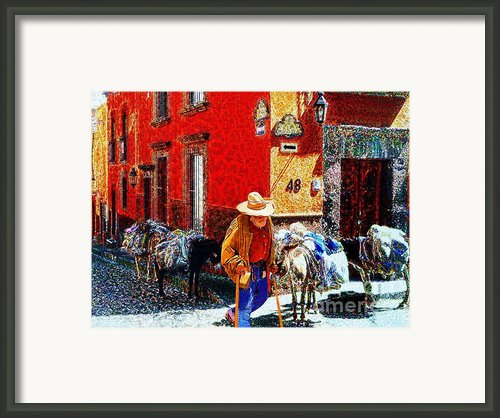 Old Timer With His Burros On Umaran Street Framed Print By John  Kolenberg