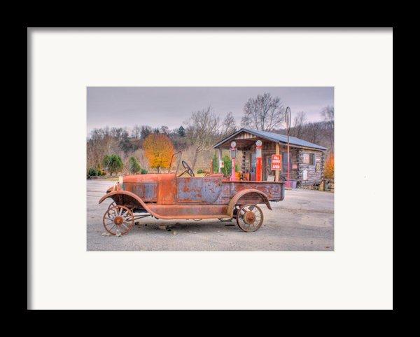 Old Truck And Gas Filling Station Framed Print By Douglas Barnett