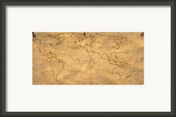 Old World Map Digital Art Framed Print By Georgeta  Blanaru
