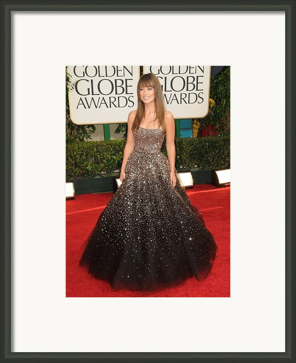 Olivia Wilde Wearing A Marchesa Gown Framed Print By Everett