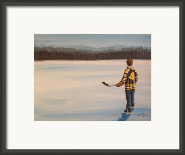 On Frozen Pond - Bobby Framed Print By Ron  Genest