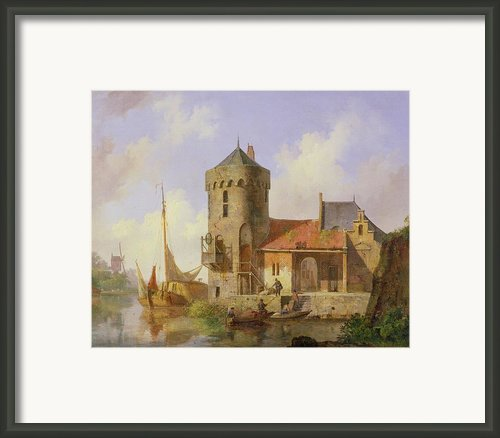 On The Rhine Framed Print By Cornelius Springer