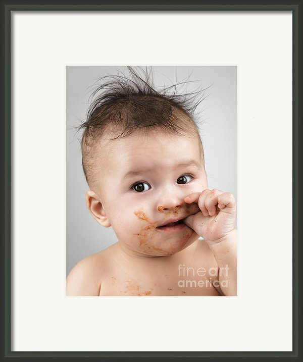 One Messy Baby Boy Sucking His Thumb Framed Print By Oleksiy Maksymenko