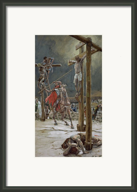 One Of The Soldiers With A Spear Pierced His Side Framed Print By Tissot