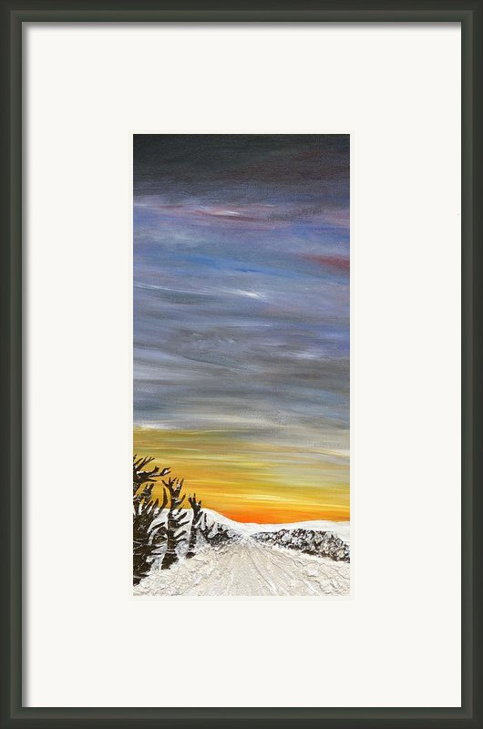 Open Road With Snow Framed Print By Becky Wheeler