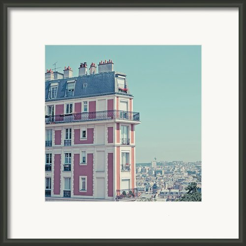 Orange Apartment Building With View Over Paris Framed Print By Cindy Prins