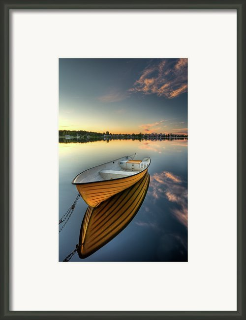 Orange Boat With Strong Reflection Framed Print By David Olsson